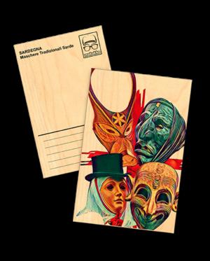 cartolina legno le 4 maschere