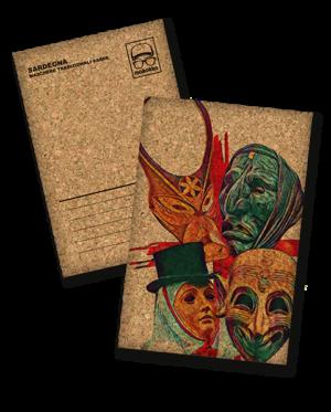 cartolina sughero le 4 maschere
