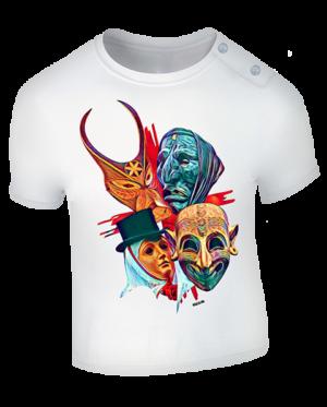 t-shirt le 4 maschere neonato bianco